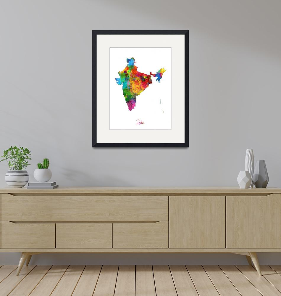 """India Watercolor Map""  (2014) by ModernArtPrints"