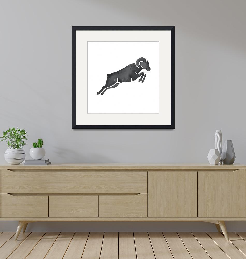 """""""Ram Goat Silhouette Jumping Watercolor""""  (2016) by patrimonio"""