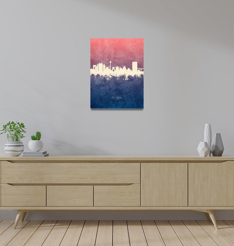 """Tehran Iran Skyline""  (2019) by ModernArtPrints"