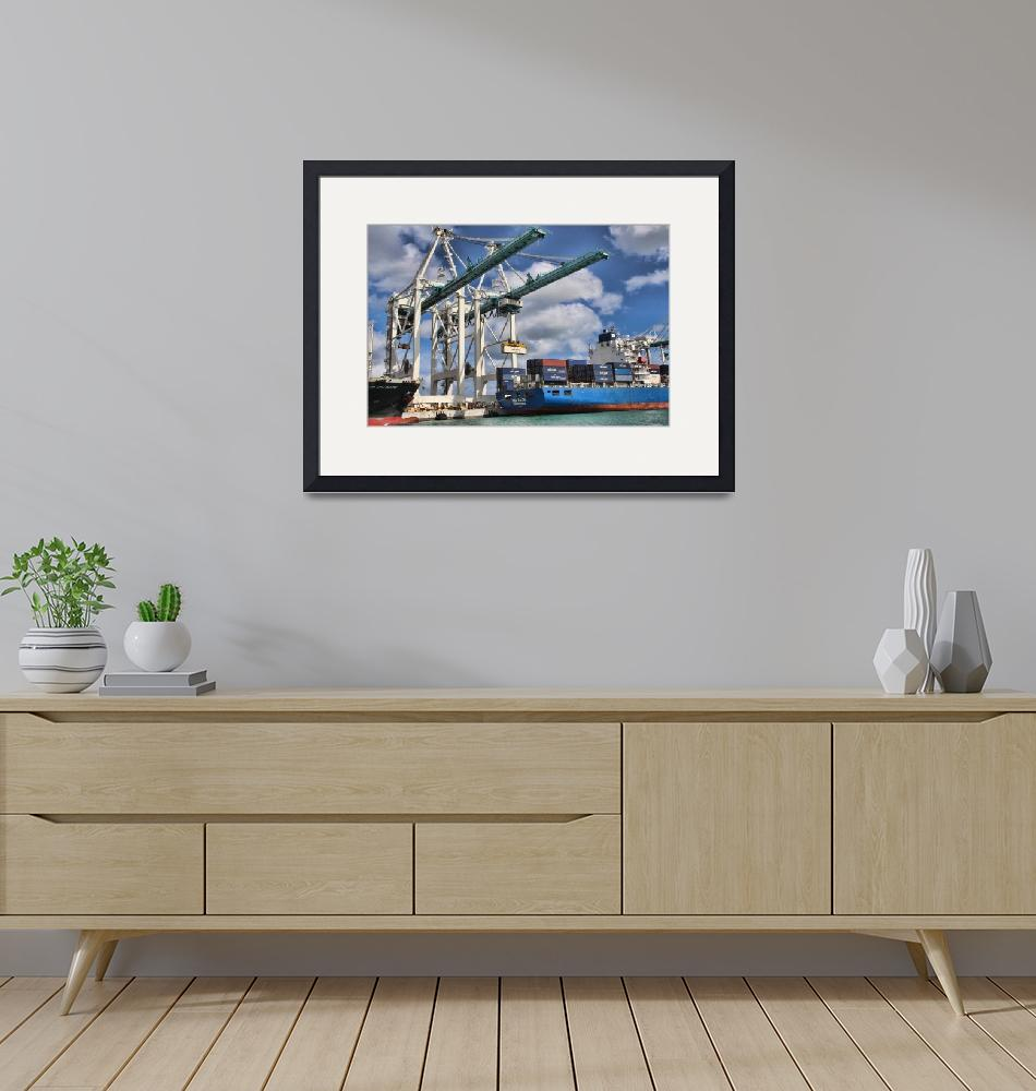 """""""Loading of Container Ship""""  (2014) by AmericanPhotoArtPrints"""