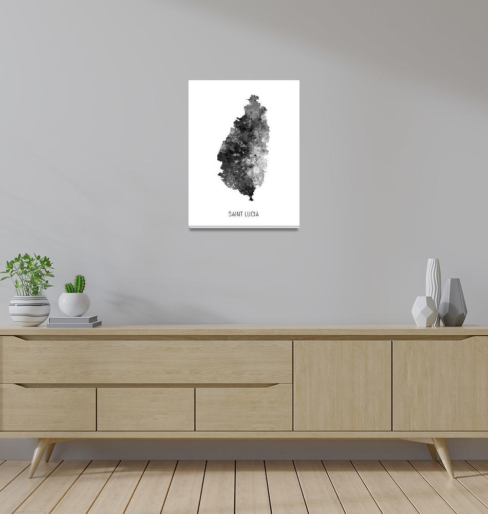 """Saint Lucia Watercolor Map""  (2019) by ModernArtPrints"