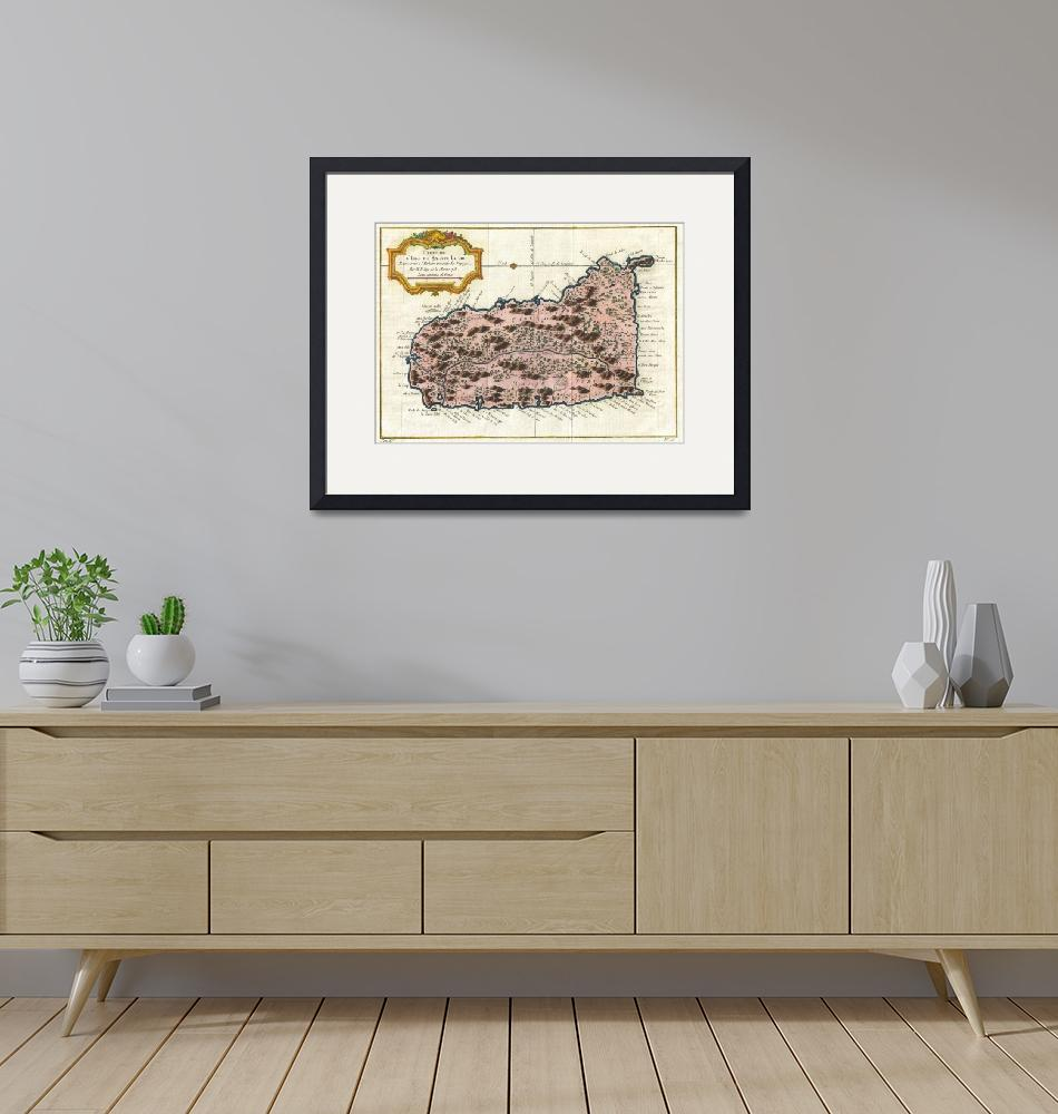 """Vintage Map of Saint Lucia (1758)""  by Alleycatshirts"