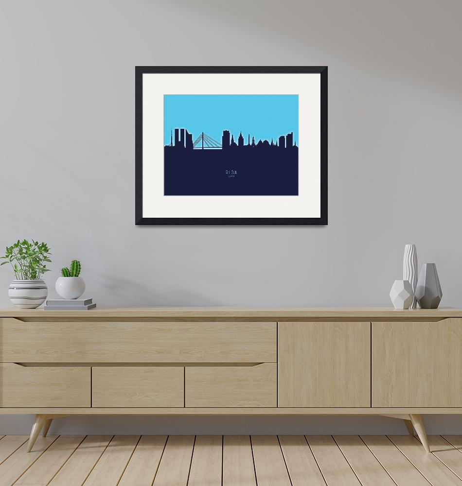"""Riga Latvia Skyline""  (2020) by ModernArtPrints"