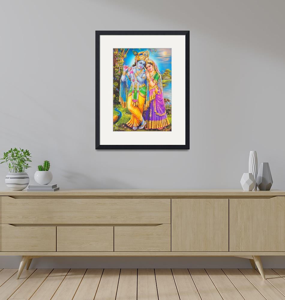 """Lord Radha Krishna Poster Hindu Religion Art""  (1971) by Maggy"