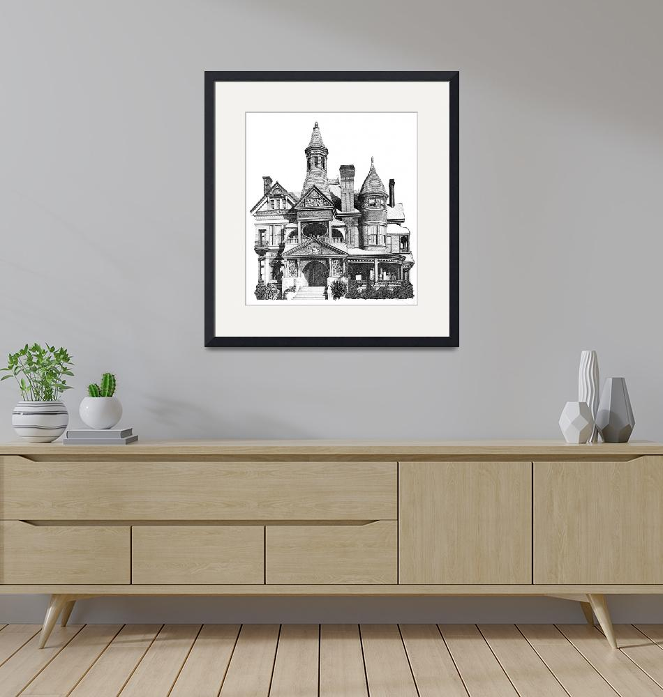 """""""Pen and Ink Stippled Victorian House drawing""""  (1995) by DulceDiane"""