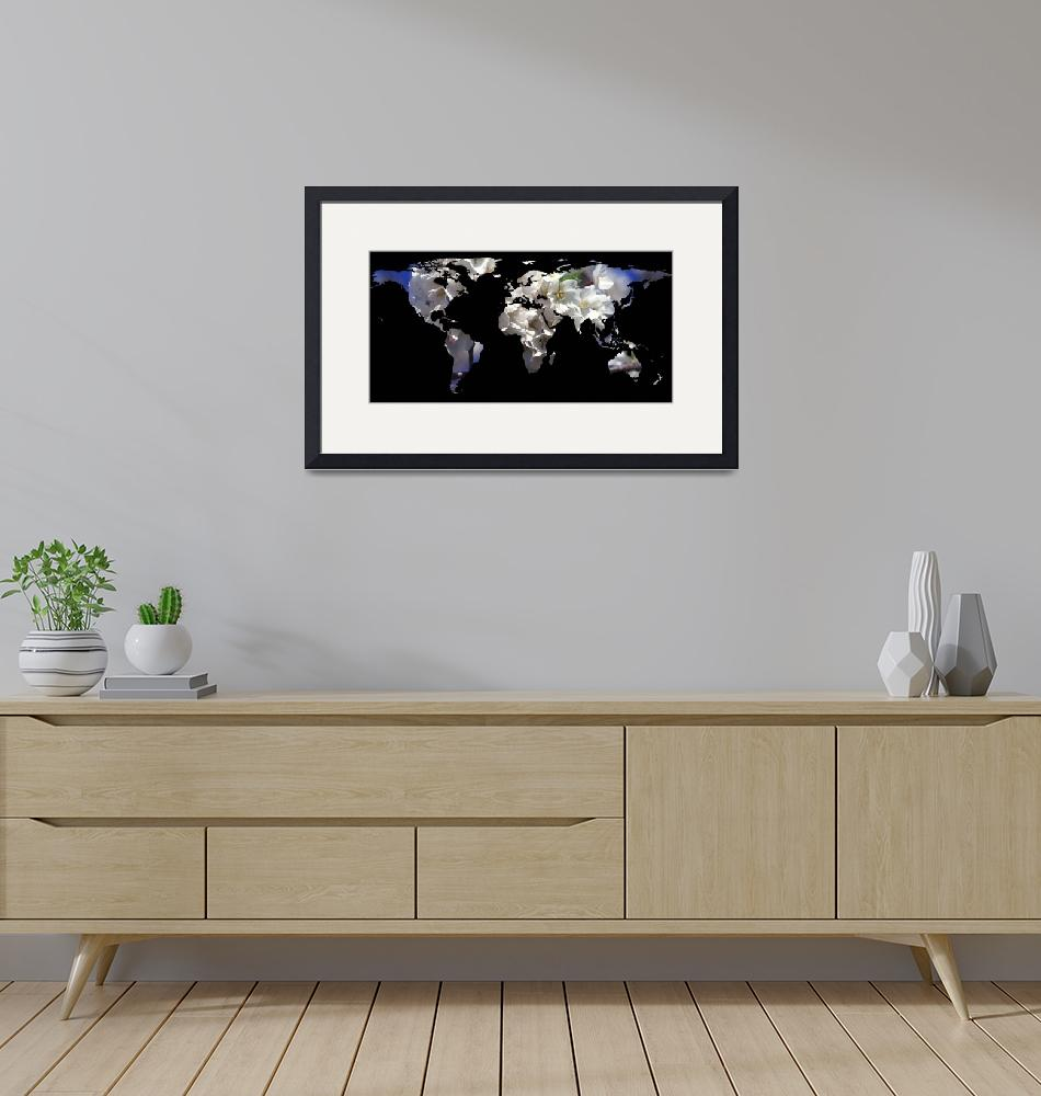 """""""World Map Silhouette - Cherry Blossoms""""  by Alleycatshirts"""