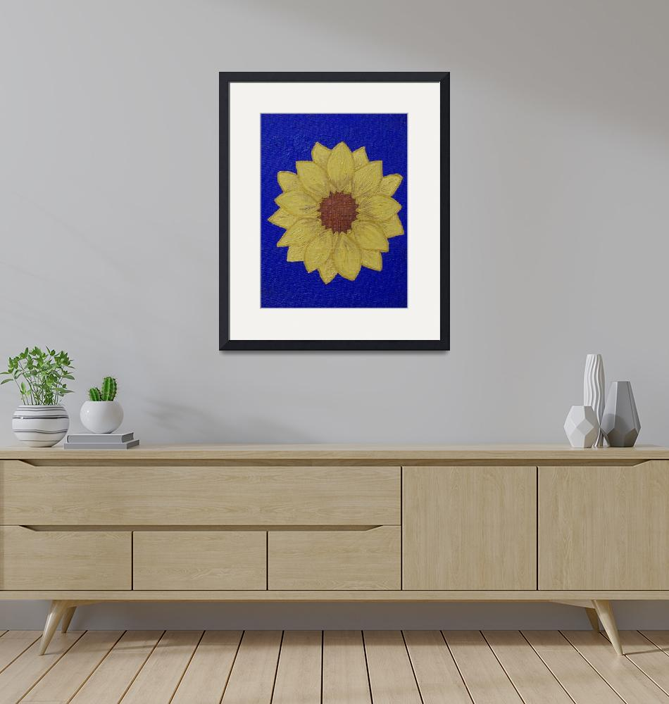 """""""yellow daisy blue background""""  (2010) by bbeards4"""