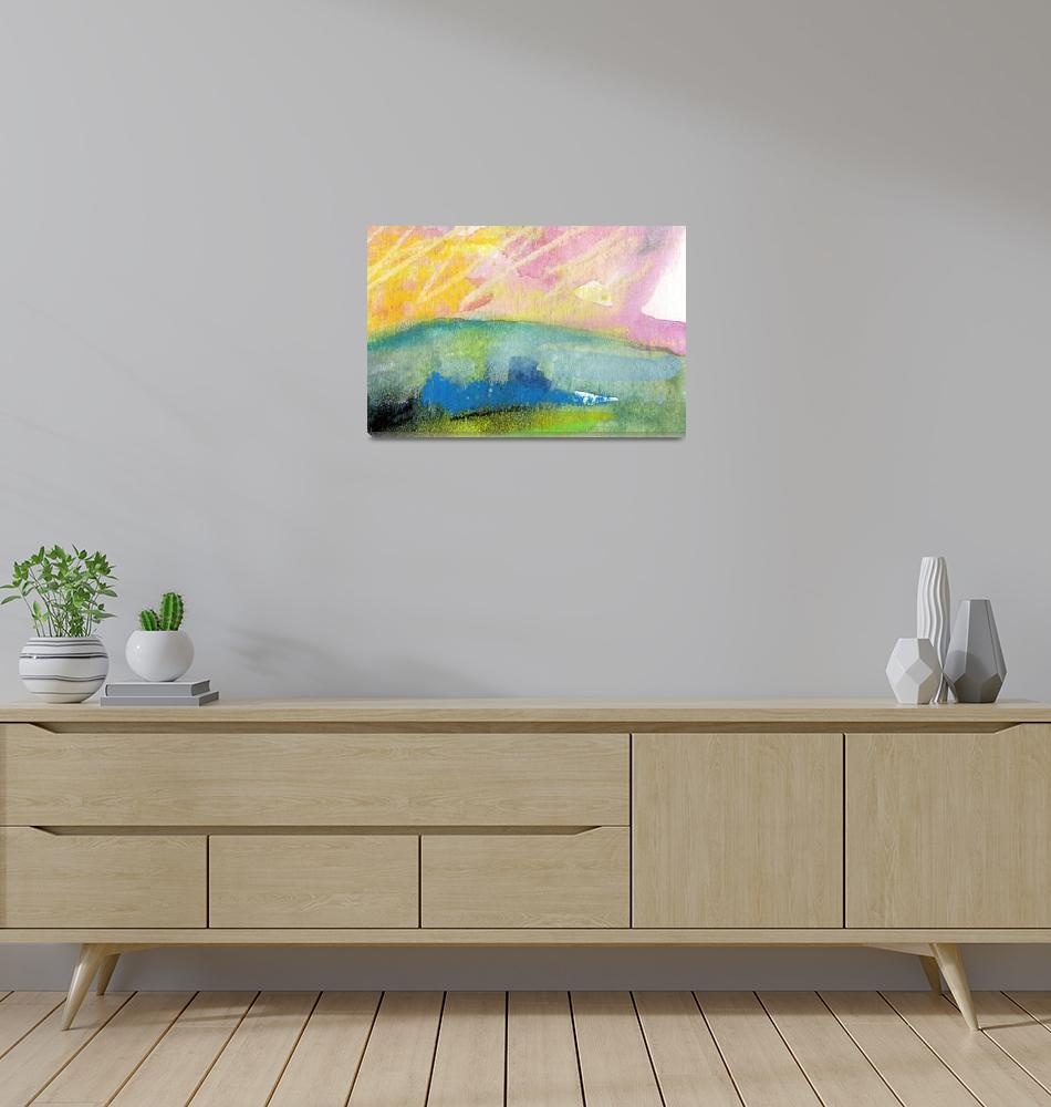 """Pink Sky Landscape WC and Pastel by Ginette""  (2011) by GinetteCallaway"