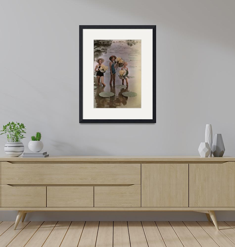 """""""Amana girls standing in water holding bunches""""  by fineartmasters"""