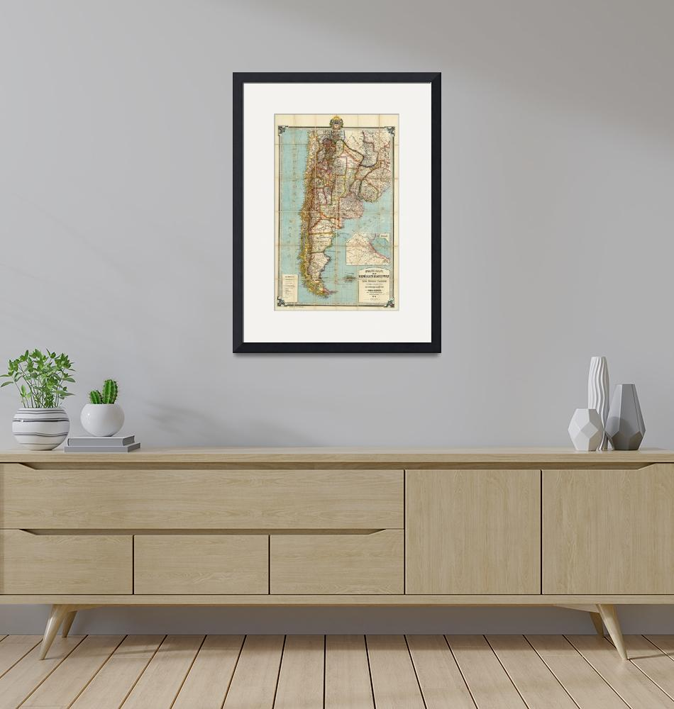 """""""Vintage Map of Lower South America (1914)""""  by Alleycatshirts"""
