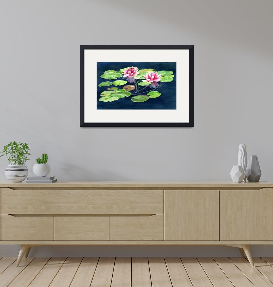 """""""Two Waterlilies with Pads""""  (2012) by Pacific-NW-Watercolors"""