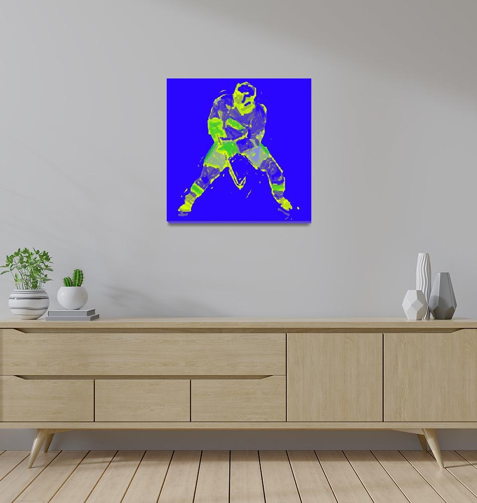 """Hockey Defenseman blue yellow (c)""  (2014) by edmarion"