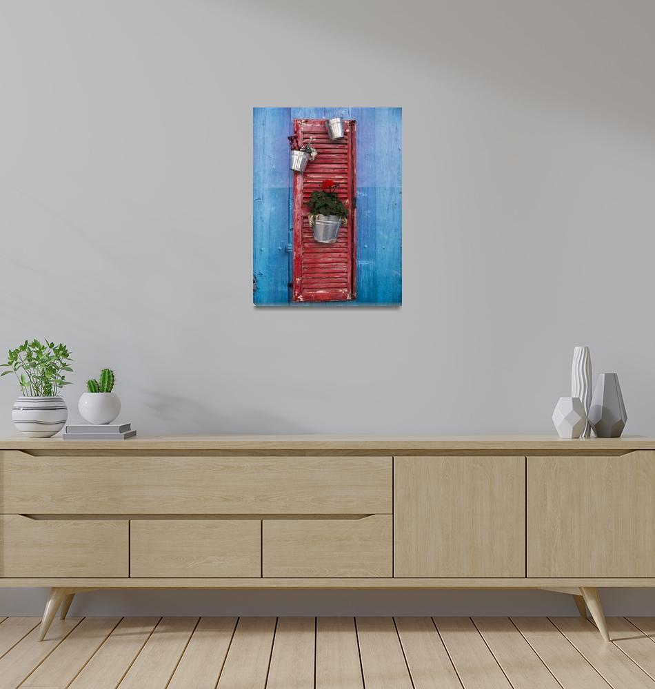 """Decorative Red Shutter""  (2018) by raetucker"
