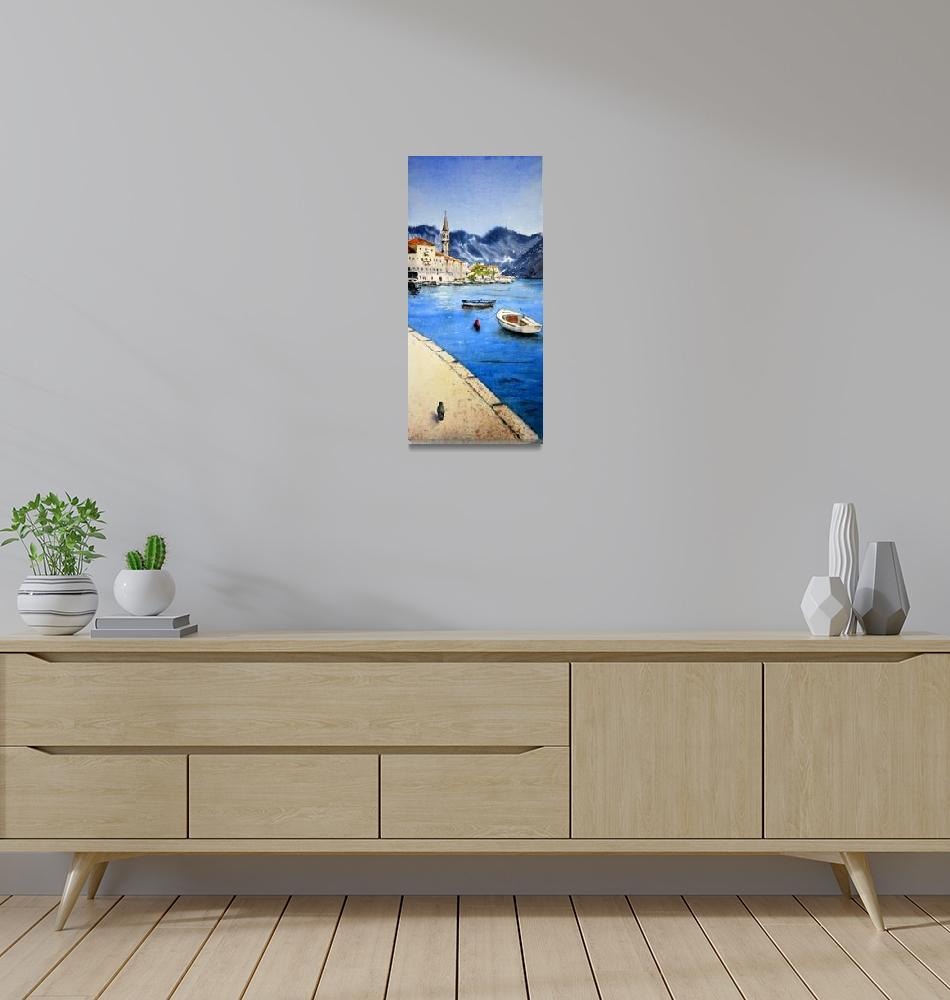 """Montenegro #8 Perast 17x36 cm 2018""  (2018) by watercolorart"