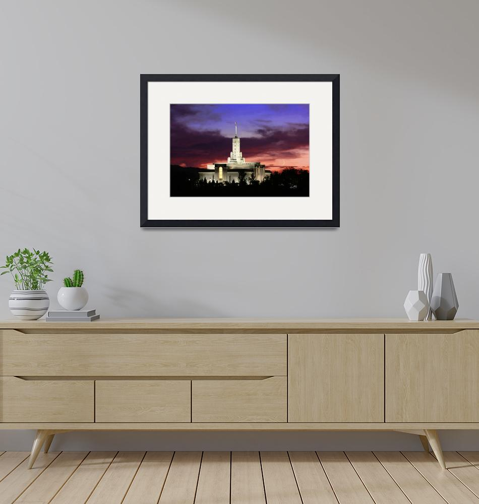 """""""20x30 Crescent Moon Sunset Mt Timpanogos Temple""""  (2008) by lightvoyages"""