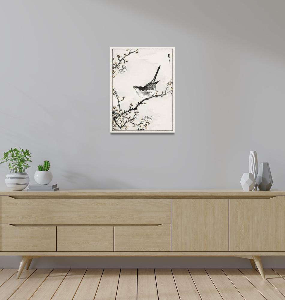 """Bush-Warbler and White Plum Tree by Numata Kashu""  by FineArtClassics"