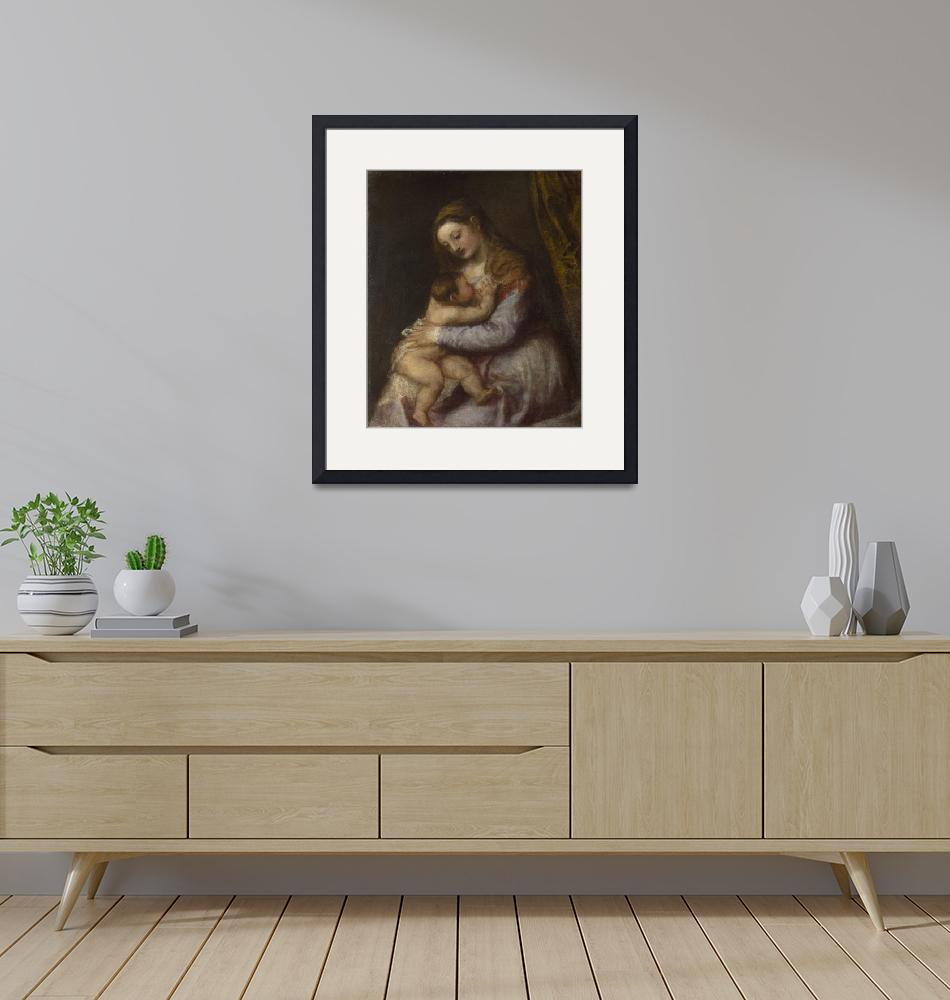 """""""Titian~The Virgin suckling the Infant Christ""""  by Old_master"""