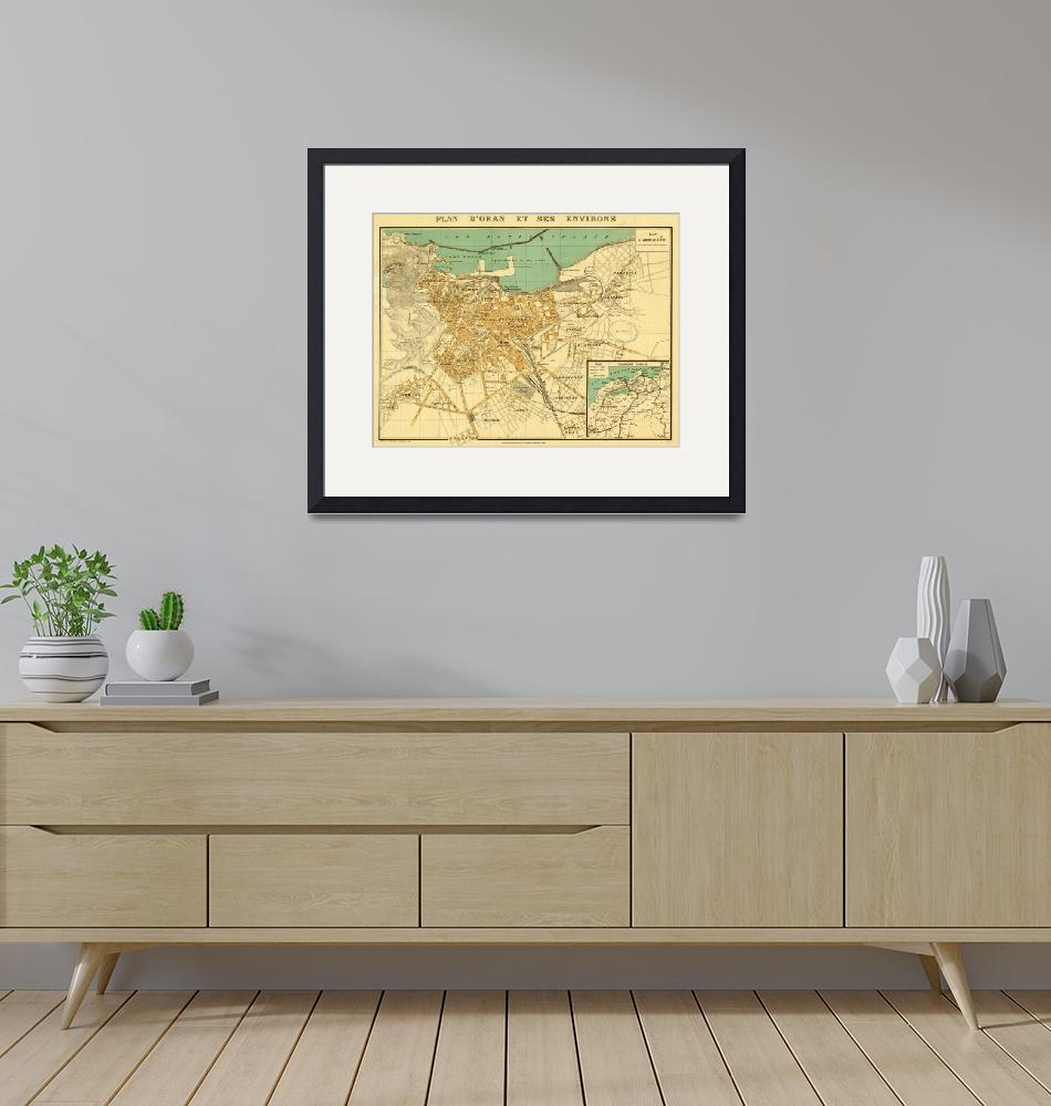 """Vintage Map of Oran Algeria (1913)""  by Alleycatshirts"