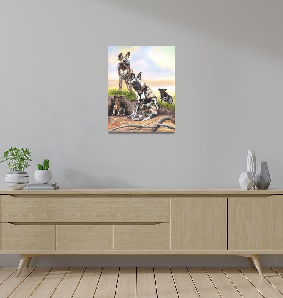 """""""Painted African Wild Dogs""""  (2020) by MightyFineArt"""