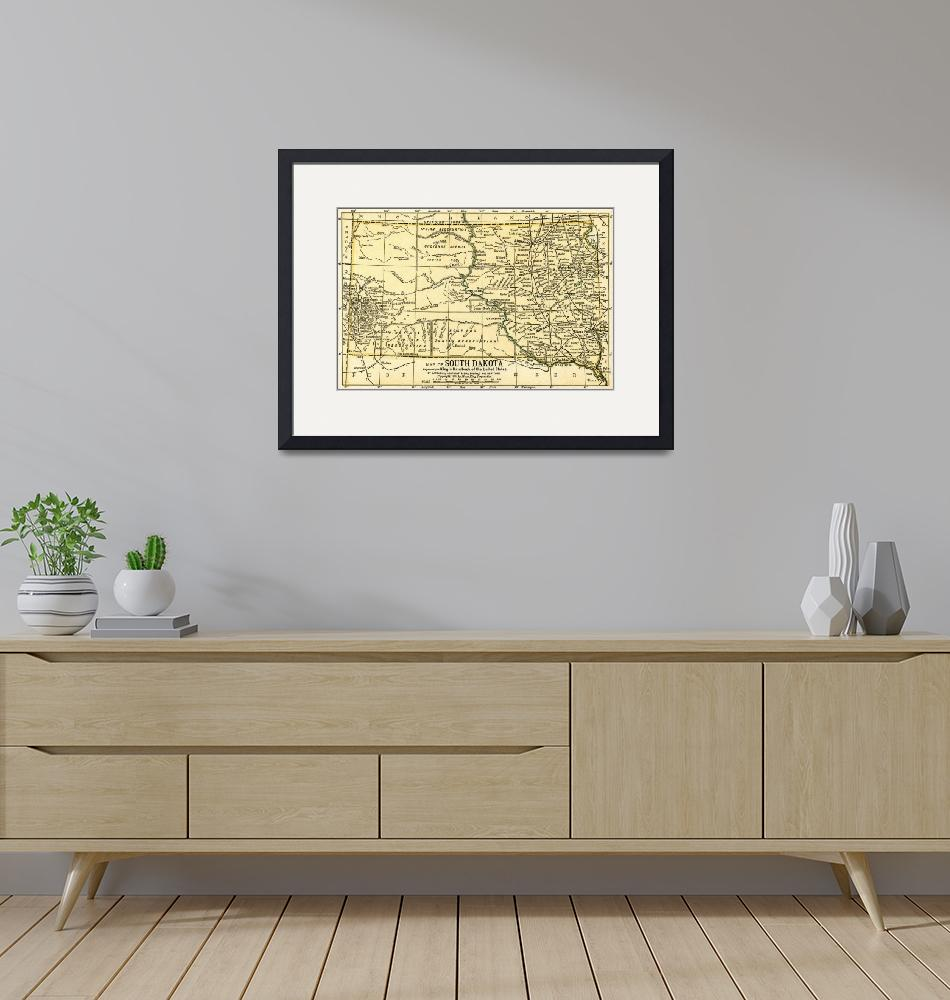 """South Dakota Antique Map 1891"" (2016) by WilshireImages"