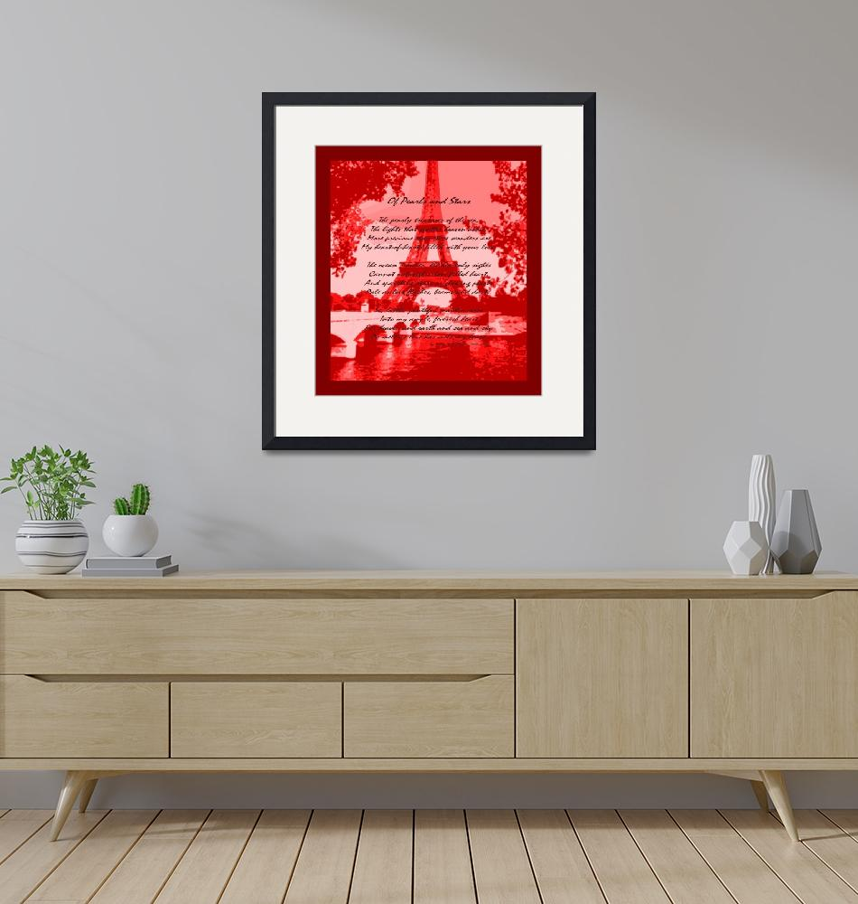 """Of Pearls & Stars Eiffel Tower Seine River Red""  (2013) by TheNorthernTerritory"