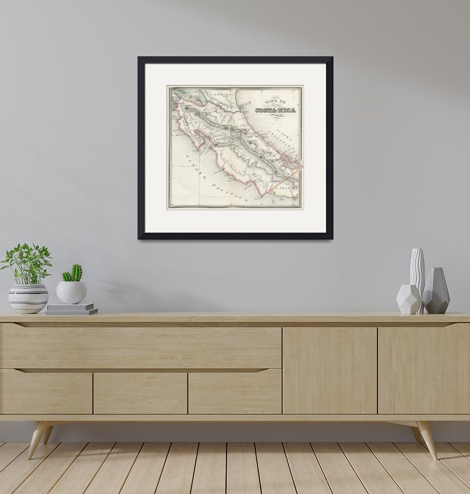 """""""Vintage Map of Costa Rica (1851)""""  by Alleycatshirts"""