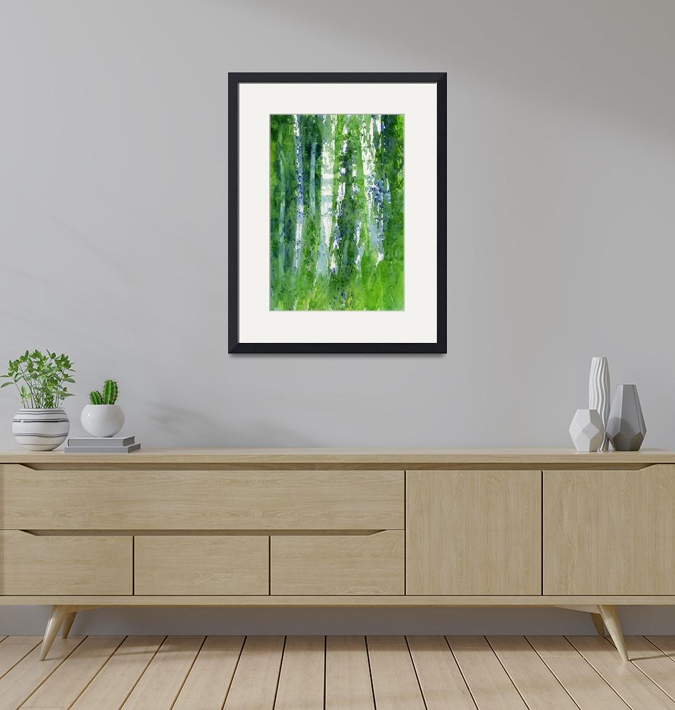 """""""Birch Trees Abstract Shapes""""  (2015) by Pacific-NW-Watercolors"""