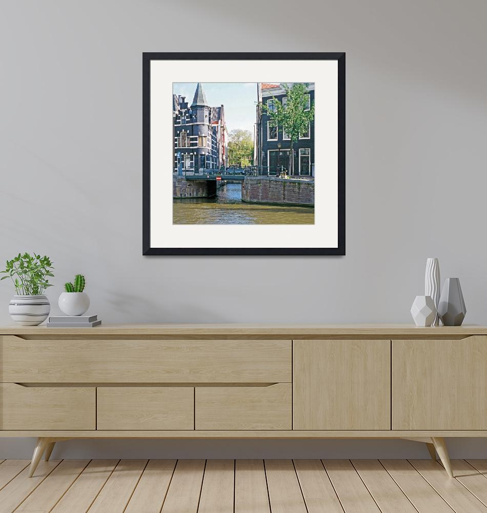 """35Canal Houses with Bridge, Amsterdam""  (2007) by PriscillaTurner"