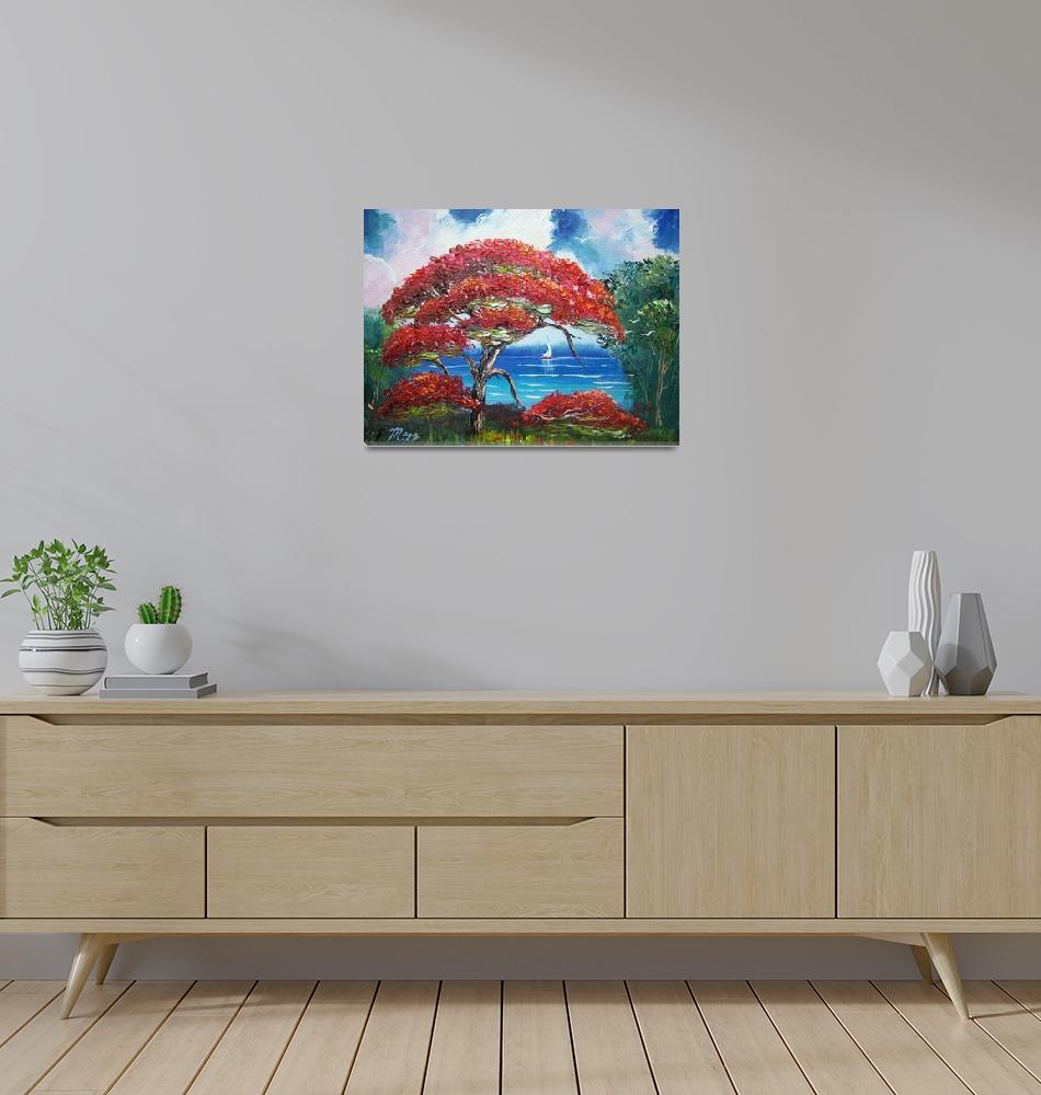 """Blooming Royal Poinciana Tree and Sailboat""  (2014) by mazz"