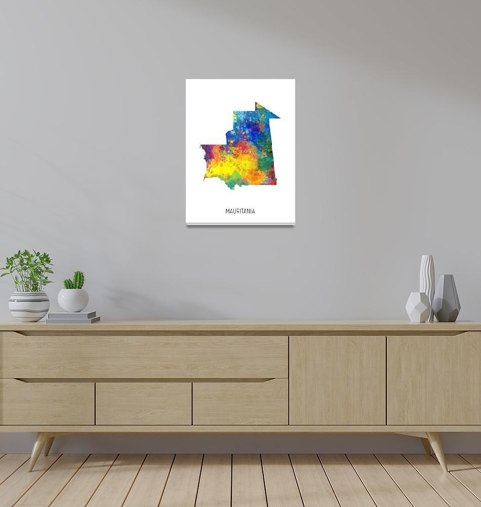 """Mauritania Watercolor Map""  (2019) by ModernArtPrints"