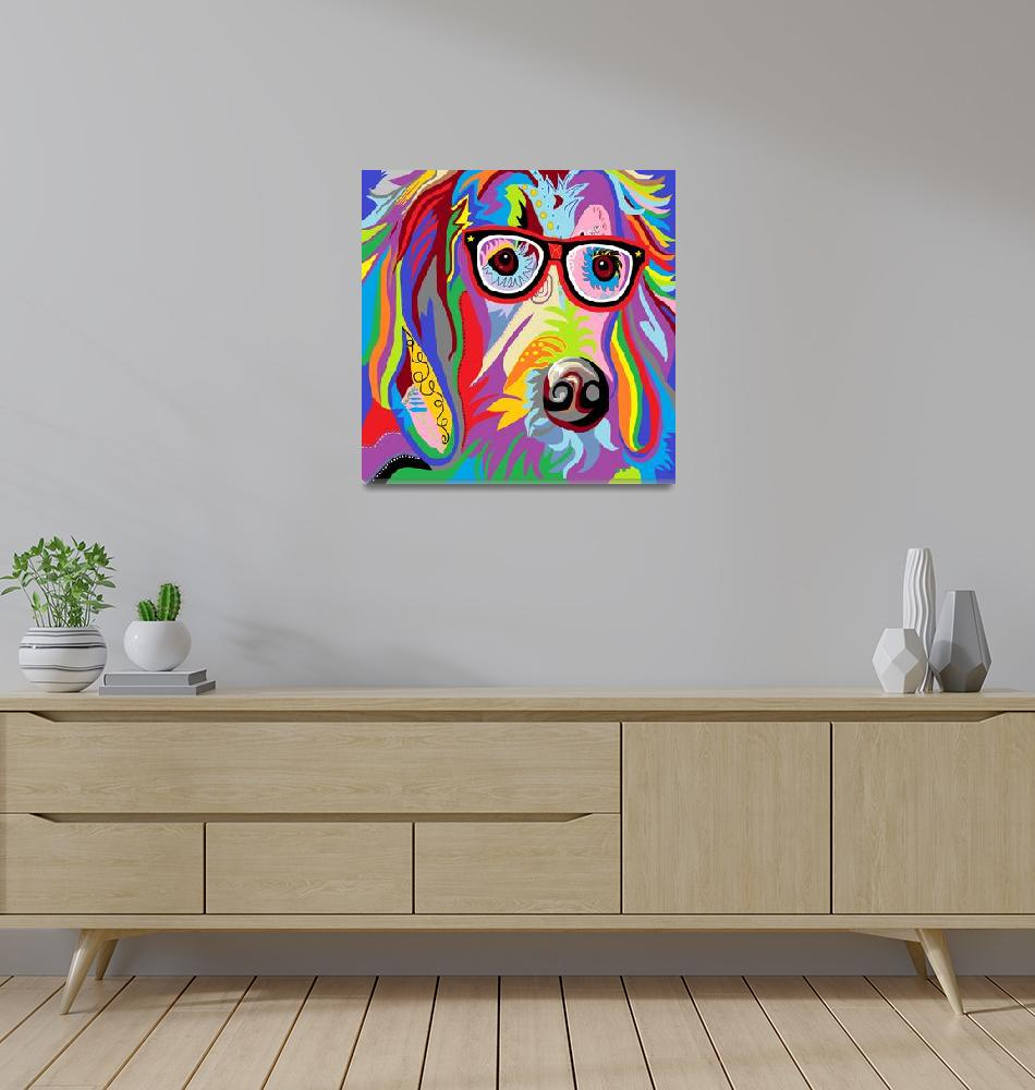 """""""Smart Retriever Hipster with Glasses""""  by EloiseArt"""