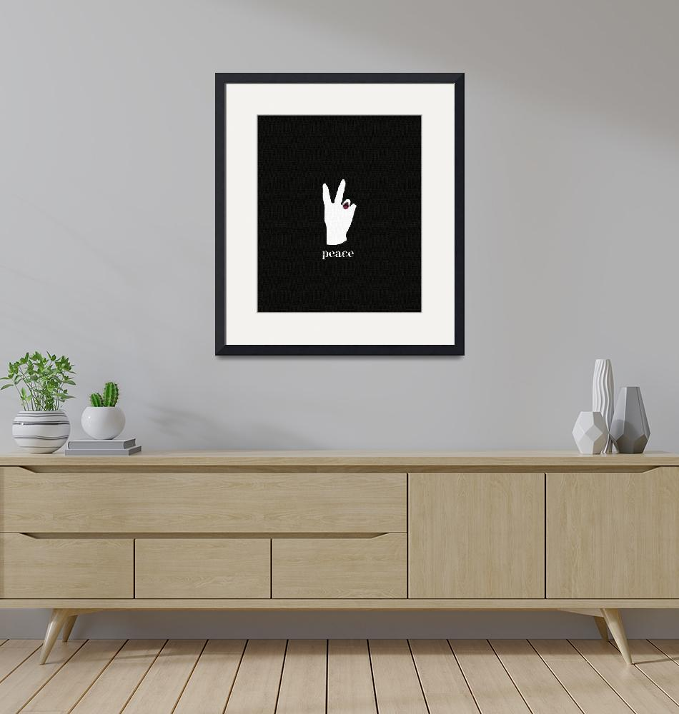 """""""PEACE SIGN - WHITE ON BLACK""""  (2009) by lisaweedn"""