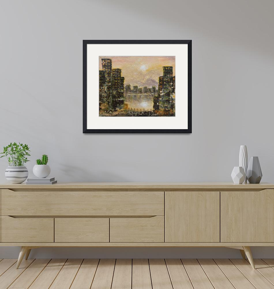 """""""City Reflections in Golden Light""""  (2007) by StoneMeadowGallery"""