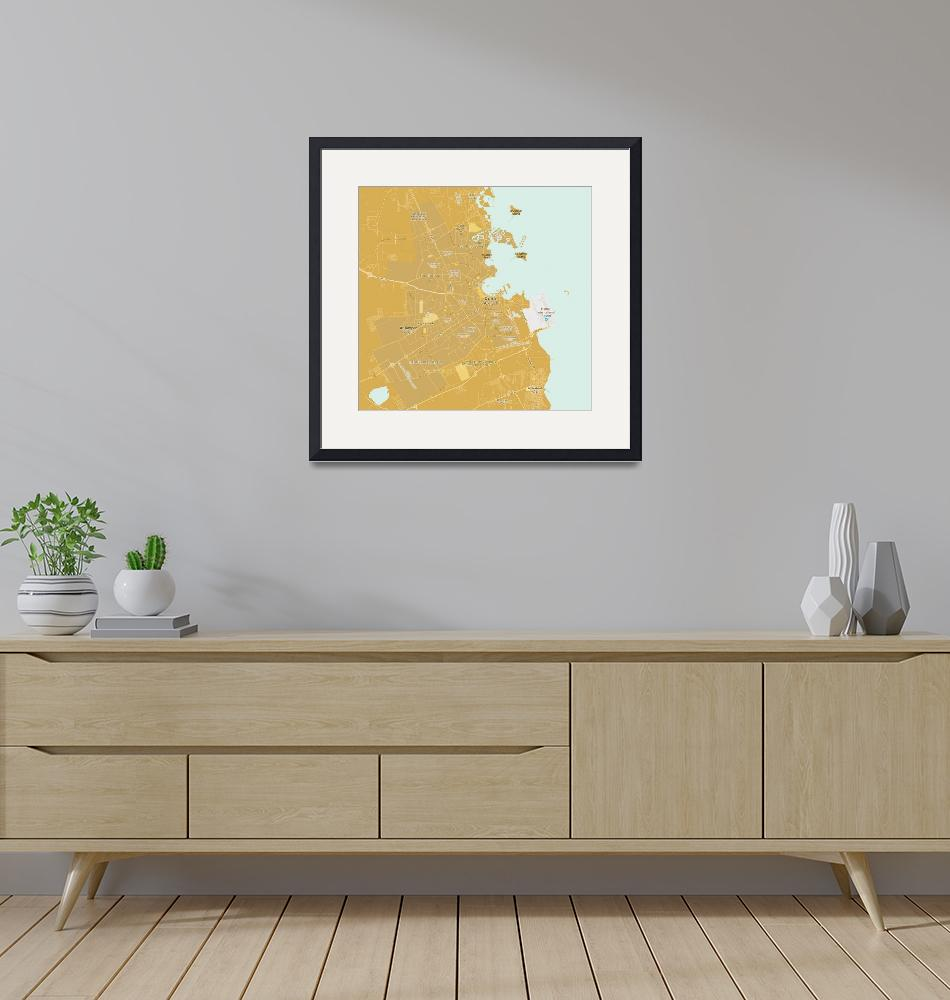 """Minimalist Modern Map of Doha, Qatar 8""  by motionage"
