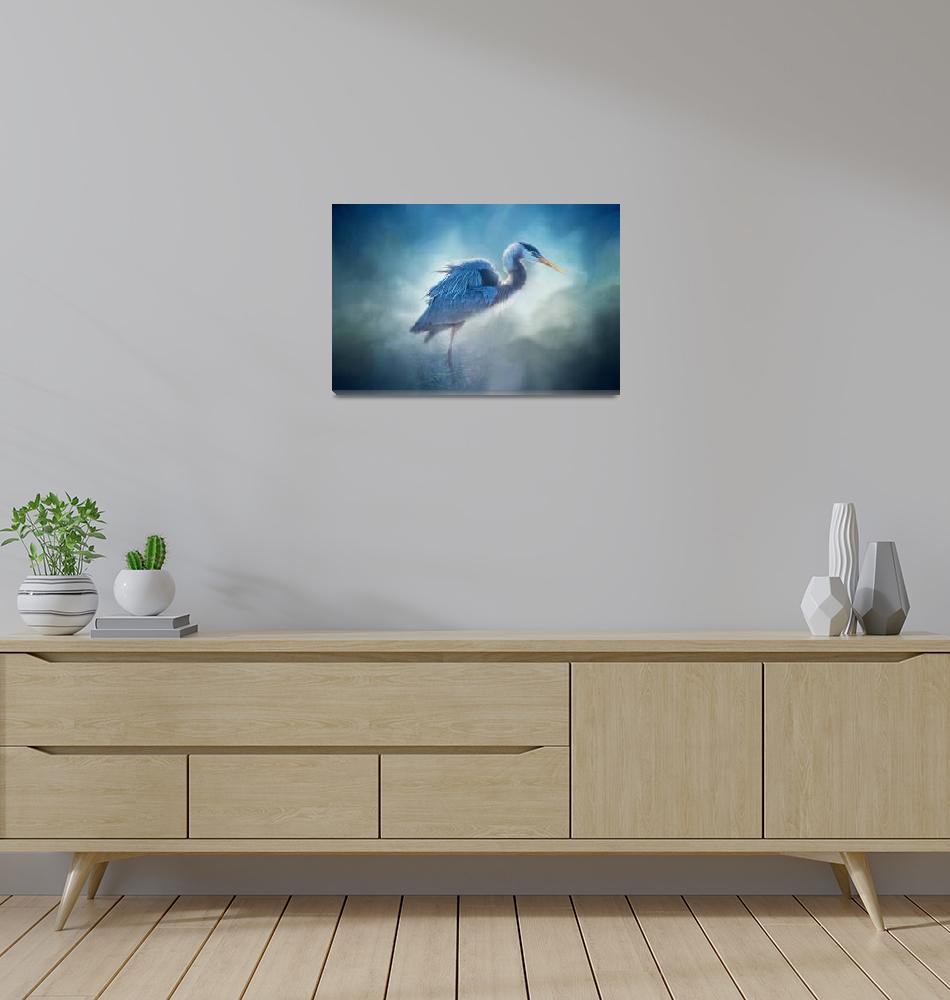 """Great Blue""  (2016) by LynnBauer"