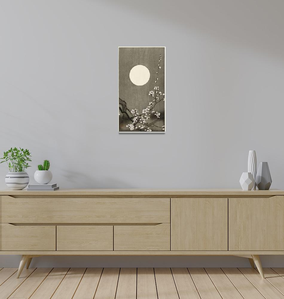 """""""Plum Blossom Under a Full Moon by Ohara Koson""""  by FineArtClassics"""
