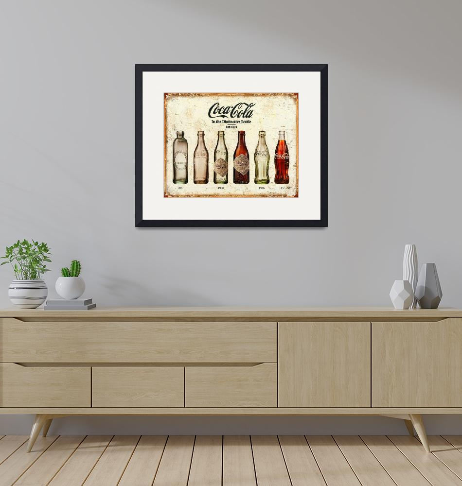 """Coca-Cola Bottle Evolution Vintage Sign""  by RubinoFineArt"