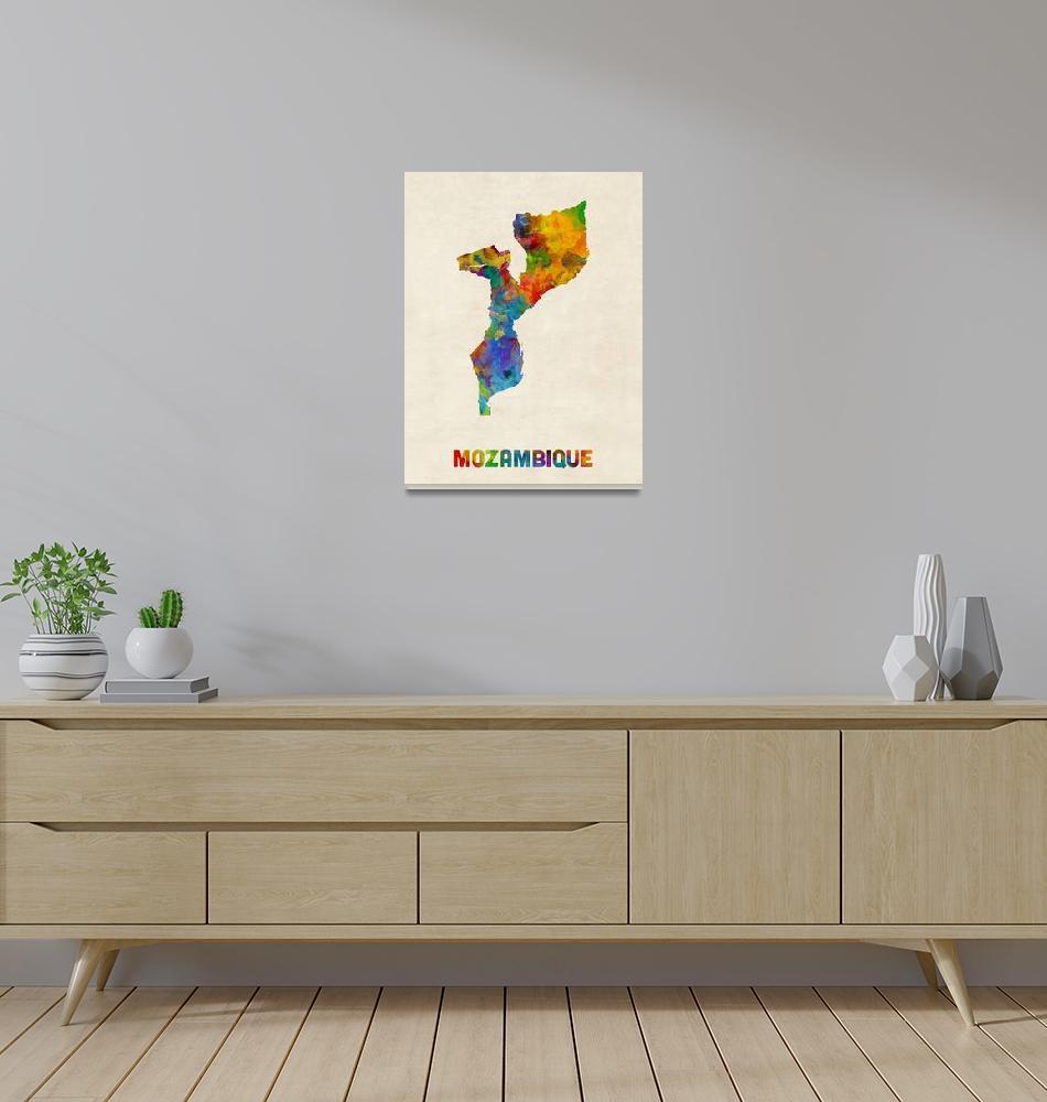 """Mozambique Watercolor Map""  (2016) by ModernArtPrints"
