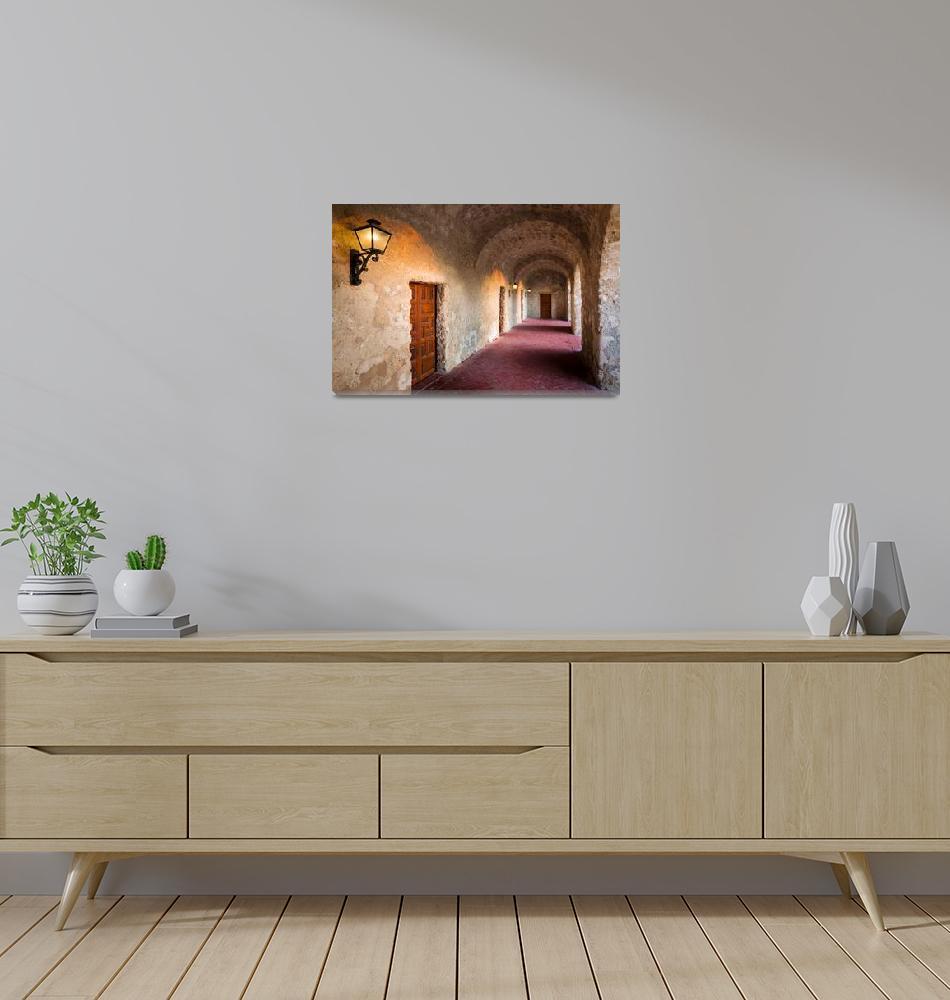 """Mission Concepcion Hallway""  (2013) by Inge-Johnsson"