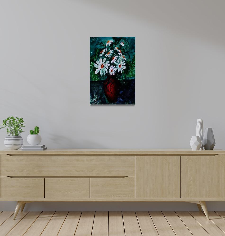 """""""daisy vase still life art print"""" (2008) by derekmccrea"""