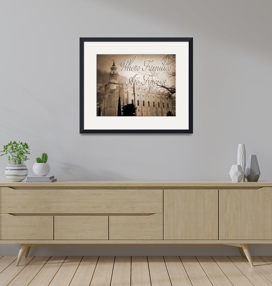 """""""St George Temple antique sepia white large print""""  by houstonryan"""