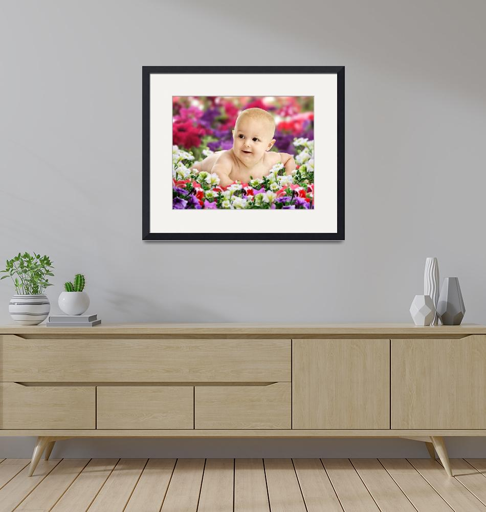 """""""Baby On Colorful Flowers""""  (2008) by Kornelius"""