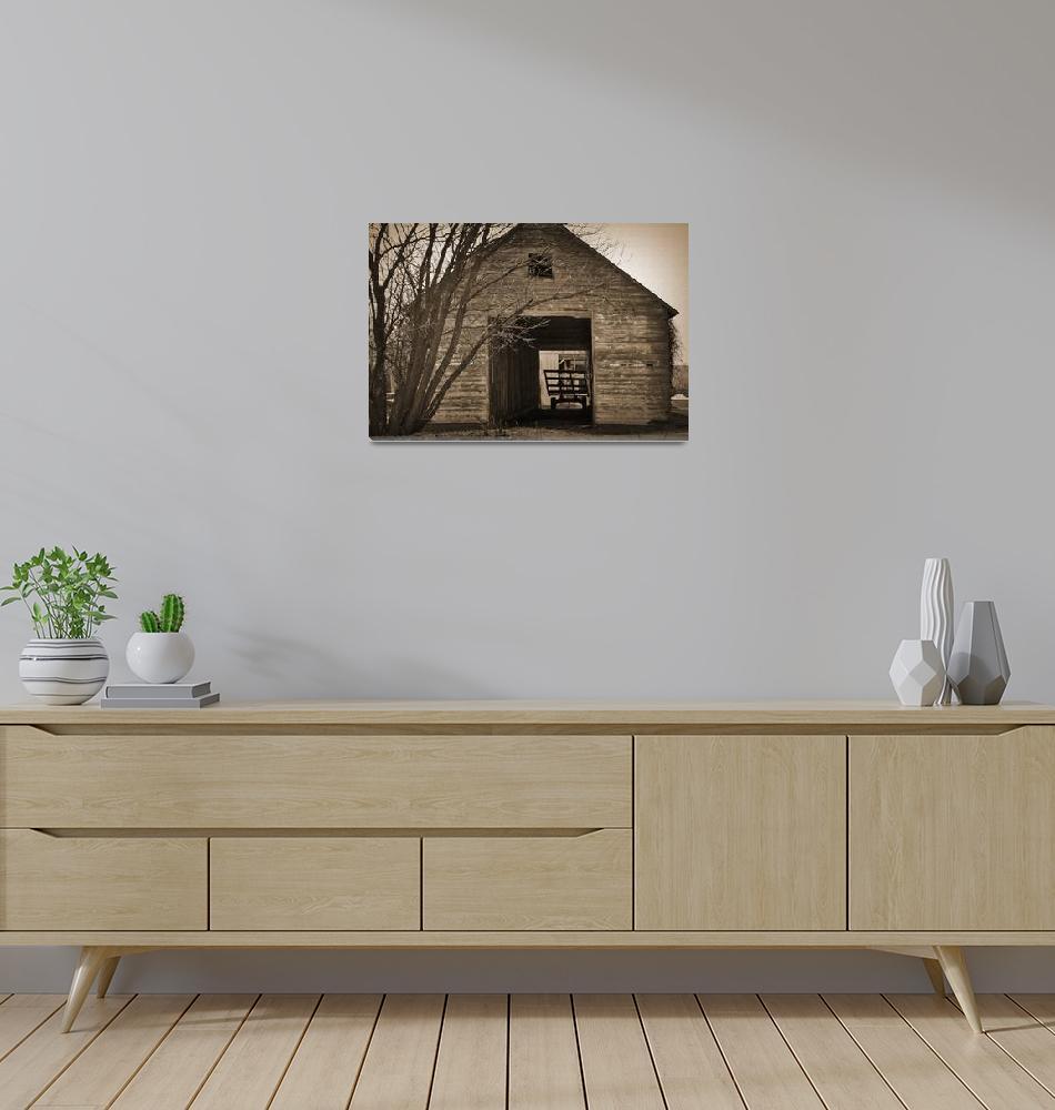 """Iowa Hay Wagon in Barn""  (2013) by Kirtdtisdale"
