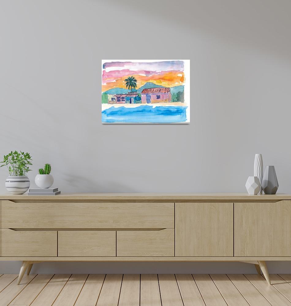"""Caribbean Beach House Bodega At Sunset""  (2018) by arthop77"