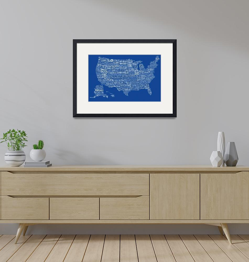 """""""United States National Parks Typography Map""""  by Alleycatshirts"""