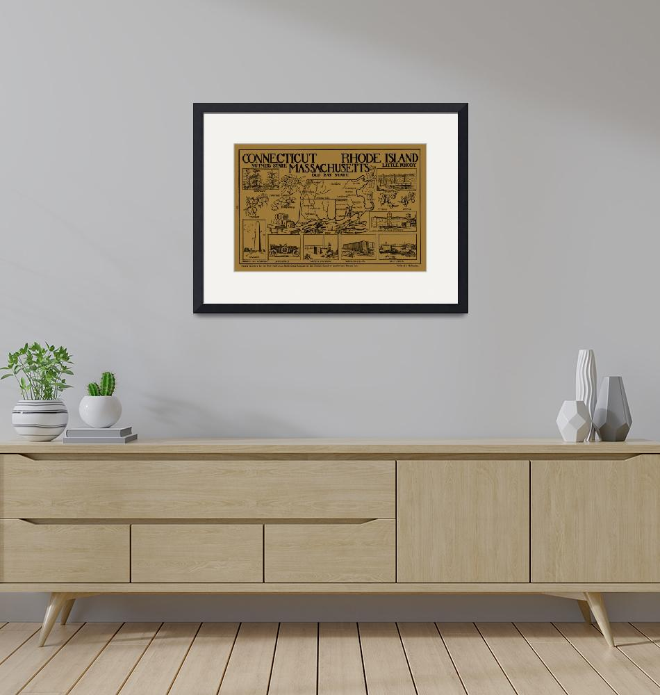 """""""Vintage Illustrative Southern New England States M"""" by Alleycatshirts"""