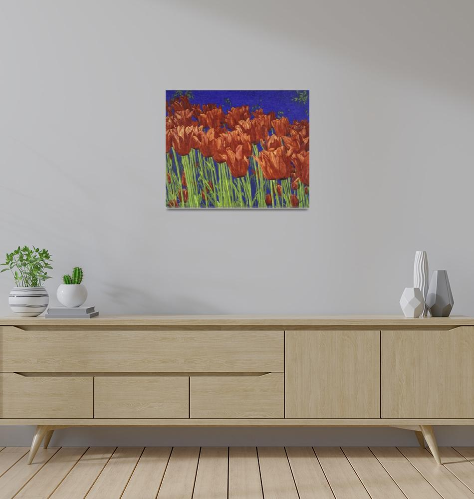 """Fine Art Prints Red Tulips Art Flowers Tulip Art""  (2008) by BasleeTroutman"