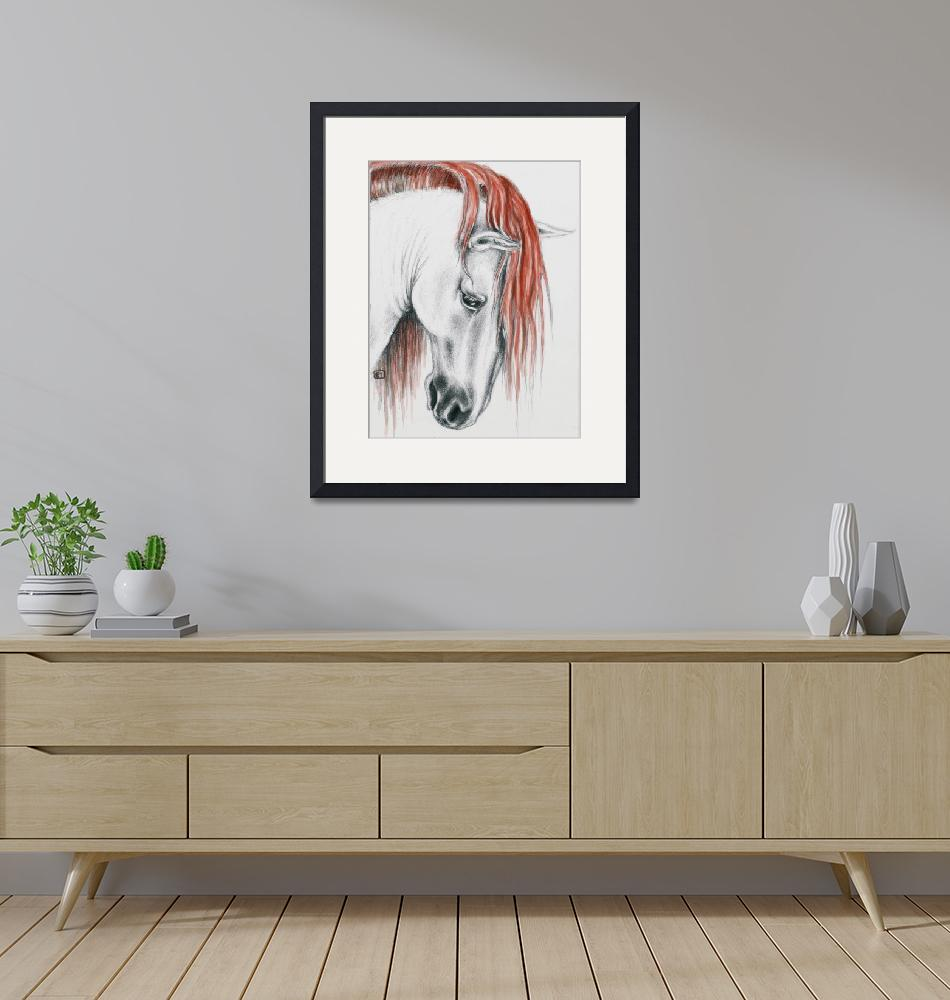 """""""Andalusian horse red mane""""  by artdeep"""