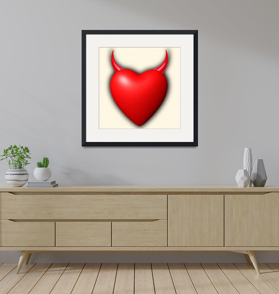 """Heart Series Love Red Devil Horns""  (2014) by RubinoFineArt"