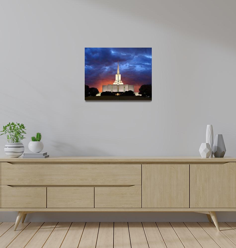 """20x24 Orange Glow Jordan River Temple""  by lightvoyages"